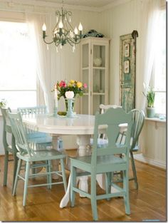 Inspiration for refinishing the kitchen table and chairs I like the green...think I many change mine to that color