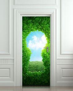 Door wall sticker forest green keyhole wanderland by Wallnit, $39.99