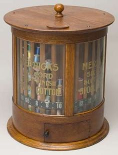 Sewing Vintage Merrick's Six Cord oak revolving spool cabinet - sold by Jeffrey S. Vintage Sewing Notions, Antique Sewing Machines, Sewing Box, Love Sewing, Thread Holder, Spool Holder, Sewing Cabinet, Sewing Baskets, Passementerie