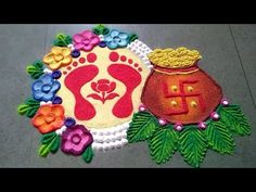 लक्ष्मीपूजन रांगोळी (धनतेरस) । lakshmipujan (Dhanteras) Diwali/Dipawali rangoli by Madhuri Rangoli Designs Simple Diwali, Rangoli Simple, Rangoli Designs Latest, Rangoli Designs Flower, Free Hand Rangoli Design, Rangoli Border Designs, Small Rangoli Design, Rangoli Patterns, Colorful Rangoli Designs
