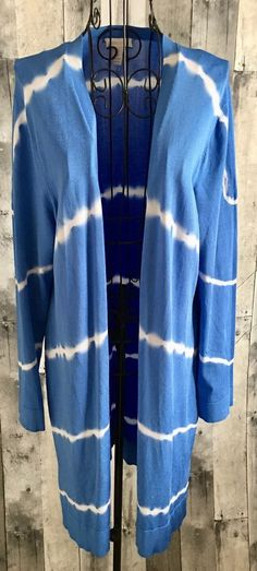 Chicos Travelers Tie Dye Cardigan Jacket Top Tunic Longer Length Size 2/Large 12 #Chicos #Top