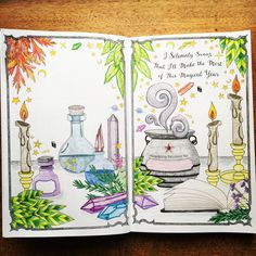 Amazing coloring by @owl_hallow on Insta!  First pages of #coloringbookofshadows #2018planner #color #coloredpencils #coloredpencil #coloryourownplanner #grimore