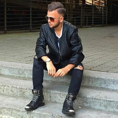 Men's Outfit. Leather jacket and boots