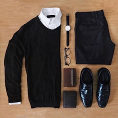 Outfit grid - Black and white style Mode Masculine, Casual Wear, Casual Outfits, Men Casual, Smart Casual, Mode Outfits, Fashion Outfits, Fasion, Fashion Ideas
