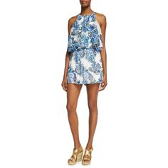 Neiman Marcus Double-Layer Ruffle Short Romper ($35) ❤ liked on Polyvore featuring jumpsuits, rompers, blue pattern, ruffle rompers, ruffle romper, sleeveless romper, short rompers and halter top