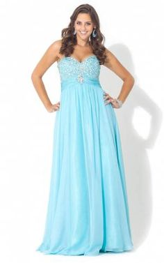 Strapless Beaded Plus Size Prom Dress 2014