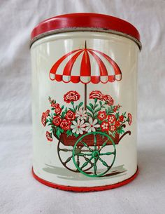 Vintage Decoware Tin with Flower Cart and Umbrella. Metal Kitchen Canister. Mid-Century Container