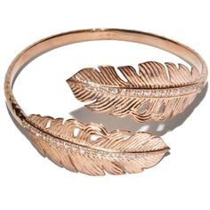 Melinda Maria Nina Feather Rose Gold Bangle ($175) ❤ liked on Polyvore featuring jewelry, bracelets, accessories, rings, joias, women, bangle bracelet, rose gold bracelet, hinged bangle bracelet and feather bangle