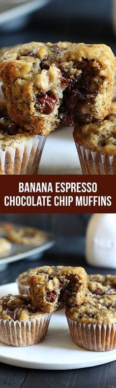 Banana Espresso Chocolate Chip Muffins - One of my ALL time fave muffin recipes. - Banana Espresso Chocolate Chip Muffins – One of my ALL time fave muffin recipes for over 7 years - Muffin Recipes, Baking Recipes, Bread Recipes, Muffins Blueberry, Almond Muffins, Banana Nut Muffins, Zucchini Muffins, Cheese Muffins, Just Desserts