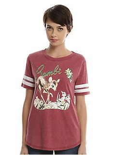 "Burgundy heather athletic style tee from Disney's <i>Bambi </i>featuring a Bambi & rabbits design on front. White stripes on the sleeves.<br><ul><li style=""list-style-position: inside !important; list-style-type: disc !important"">60% cotton; 40% polyester</li><li style=""list-style-position: inside !important; list-style-type: disc !important"">Wash cold; dry low</li><li style=""list-style-position: inside !important; list-style-type: disc !important"">Imported</li><li style=""list-style-posi..."