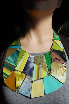 Mosaic bib necklace.