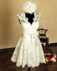 1950 wedding dress short vintage short wedding by LeeWeddingDress, $100.00  love it all but the hat! :)