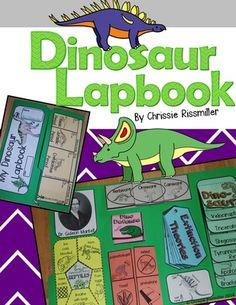Dinosaur Lapbook Interactive Kit from Chrissie Rissmiller on TeachersNotebook.com (28 pages)
