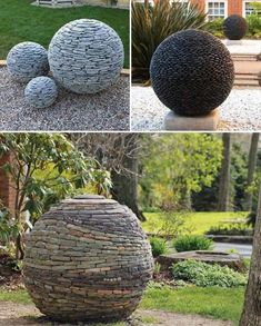 DIY Garden Globes Make Your Garden More Interesting Create Garden Balls from Hundreds of Slate or River Stones That Look Downright Magical.Create Garden Balls from Hundreds of Slate or River Stones That Look Downright Magical. Garden Crafts, Diy Garden Decor, Garden Projects, Garden Decorations, Garden Tips, Dyi Garden Ideas, Art Projects, Outdoor Garden Decor, Outdoor Crafts