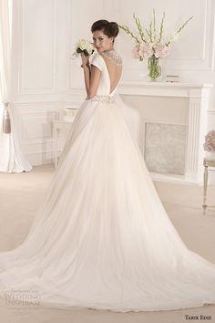 tarik ediz 2014 bridal collection off the shoulder v neck short sleeve a line wedding dress back mimoza