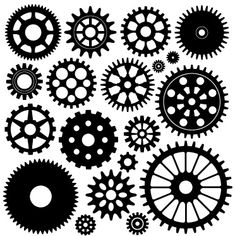 free EPS .ABR silhouettes to adapt for a cut file - Cog set by Milgeek