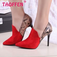 ladies high heel shoes sexy brand women bowtie quality wedding pumps fashion pointede toe flock footwear shoes size 34-39 P23513 - HighHeelsSale