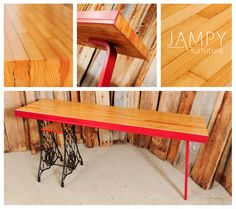 Bowling lane table top so you're not going to damage it anytime soon! It can truly take a beating. With cast iron early 1900's sewing machine legs and a barn board shelf. Plus one bent plywood leg for good measure and of course balance. www.jampy.co - $800 SOLD & shipped to Calgary