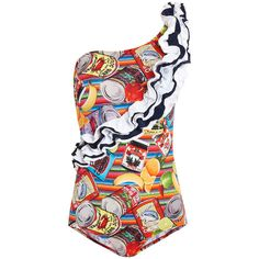 Stella Jean Confezionista Swimsuit ($260) ❤ liked on Polyvore featuring swimwear, one-piece swimsuits, multicoloured, one piece bathing suits, flounce bathing suits, ruffle swim suit, bathing suit swimwear and ruffle swimsuit