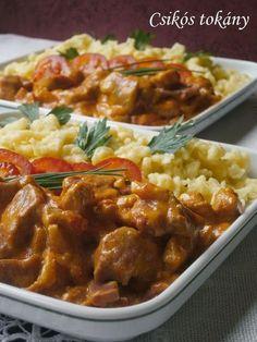 Csikós tokány - Hozzávalók: 2-3 evőkanál olaj 20-25 dkg húsos füstölt szalonna (kolozsvári) 2 nagy vöröshagyma 1 kg sertéslapocka őrölt pirospaprika, só 2 zöldpaprika 2 paradicsom 2 dl tejszín 1 dl tejföl 1 evőkanál liszt Pork Recipes, Real Food Recipes, Cooking Recipes, Healthy Recipes, Delicious Dinner Recipes, Yummy Food, Hungarian Recipes, Good Foods To Eat, Pork Dishes