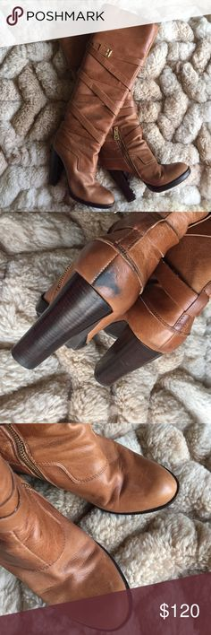 michael kors Gansevoort boots NO TRADES. DON'T ASK. Real Leather. Worn a few times. A little bit of wear few acratches. Needs a good since and it'll be good as great. Marking on back heel Michael Kors Shoes Heeled Boots