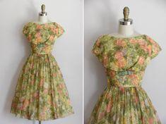 50s Monet's Garden dress/ vintage 1950s chiffon party dress/ full skirt floral cocktail dress