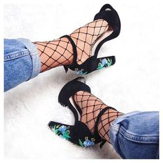 New Fashion, Womens Fashion, Party Shoes, Womens High Heels, Embroidered Flowers, Fishnet, Ripped Jeans, Oxford Shoes, Stockings