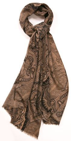 Etro Paisley Cashmere Scarf - Taupe and grey printed paisley large cashmere/silk blended scarf. Unfinished fringed hem. Can be worn day to night and gives just the right amount of warmth!