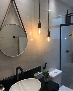 Esse banheiro todo despojado, mesclando elementos clássicos e contemporâneos, foi a solução criada pelo escritório @triiarquitetura para revitalizar o espaço!    Porcelanato: Dolomite Bianco 52,7x105  Projeto: @triiiarquitetura    #Biancogres #Revestimento #Porcelanato #Arquitetura #Interiores #Decor #Design #Tendencia #Banheiro #BanheiroDecorado #Marmore #Marmorizado #ColecaoMarmores Downstairs Toilet, Interior Decorating, Interior Design, Cottage Living, Diy On A Budget, Beautiful Bathrooms, Small Bathroom, Living Room Decor, Sweet Home