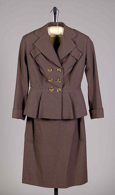 Suit Antonio del Castillo ca. Suits For Women, Ladies Suits, 1940s Fashion, Double Breasted Suit, Metropolitan Museum, Lanvin, Vintage Ladies, Suit Jacket, American