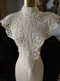 Renaissance Battenburg Dress Front Lace Collar Hand Made Tape Laces
