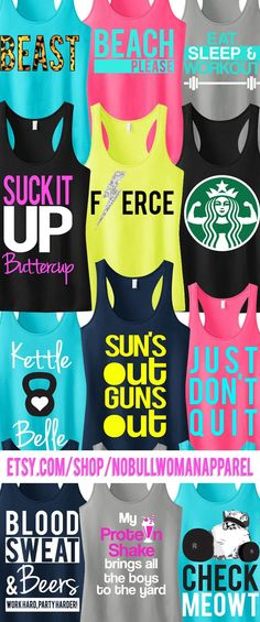 This shop has a ton of Awesome #Workout Tank tops! Pick Any 3 and get %15 Off. #Fitness Bundle by NobullWomanApparel, $63.95 on Etsy. Click here to see them all www.etsy.com/...