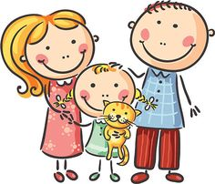 Happy family with one child and a cat Illustration , Clip Art, Cartoon Sketches, Family First, Happy Family, Stick Figures, Cute Pins, Working With Children, Cute Love, Vector Art