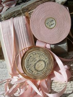 Huge quantity of unused antique & vintage French pink lingerie ribbons