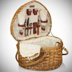 in case a picnic isn't quite romantic enough - a heart-shaped picnic basket!