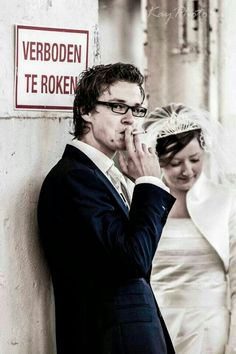 Smoking not permitted  Wedding shoot 2014 in Enka Ede. The photo is in a Classic tripletone design.   Check our wedding portfolio at www.bruidsfotograaf4u.nl   #wedding #weddingphotography #bruidsfotograaf #bruidsfotografie #huwelijk #EDE #Enka #bruidsfotograaf4u.nl#wedding #weddingphotography