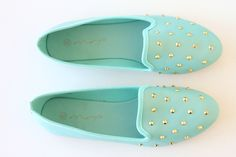 Mint loafers with gold studs