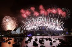 A view of the New Year's Eve, 2013-14, fireworks display in Sydney Harbor in Sydney, Australia.
