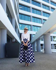 079e805ec6 Persun Women White White Contrast Polka Dot Print Maxi Skater Skirt Printed  Maxi Skirts, Ball