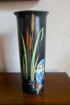ART-DECO-SHELLEY-HAND-PAINTED-KINGFISHER-VASE