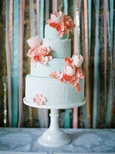 Aqua  Peach Wedding Cake   Branco Prata