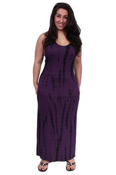 Gorgeous Women's Tie Dye Look Printed Maxi Dress Plus Size: EGGPLANT  Def Planet defplanet.com