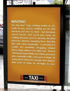 NYC Taxi Ad - nice copy!