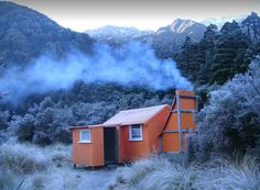 Cedar Flats Hut, Toaroha Valley, West Coast, N.Z. West Coast, Cabins, In The Heights, Hiking, Flats, Country, House Styles, Interior, Home Decor