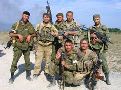 A group of ethnic Chechen (former rebel) Russian Spetsnaz troops of the Vostok Battalion posing during the conflict in South Ossetia, Georgia in 2008