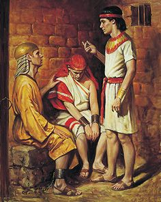 A painting by Del Parson depicting Joseph of Egypt in prison, interpreting the dreams of the butler and the baker, who sit near him.