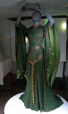 Link is broken, I'll look up the citation when there is time.  If anyone does it before I change this please drop me a note in the comments.  Thanks!  A stage costume #gown worn by Ellen Terry. It was made of fine crochet, and was decorated with the iridescent wings of the Jewel Beetle.