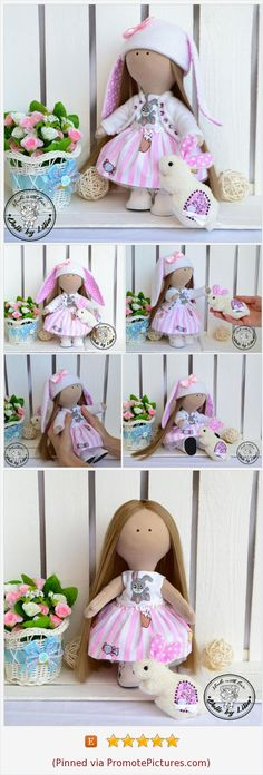 Textile doll Bunny Easter doll Tilda doll Fabric art doll Pink doll Rag cloth doll Interior doll Doll for kids Game doll Doll for gift https://www.etsy.com/DollsbyLilia/listing/577850786/textile-doll-bunny-easter-doll-tilda?ref=shop_home_active_1  (Pinned using https://PromotePictures.com)