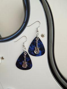 Guitar Pick Earrings, Guitar Pick Jewelry, Guitar Picks, Blue Earrings. $9.96, via Etsy.