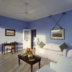 Furnished living room in the Cowdray Suite at Jamaica Inn. http://jamaicainn.com/accommodation.php#cowdray